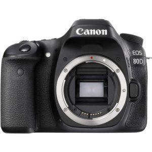 מצלמת רפלקס Canon 80D גוף בלבד חיישן APS-C בעל 24.2 מגה פיקסל מעבד תמונה DIGIC 6 מסך מגע מפרקי 3'' 1.04 מיליון נקודות וידאו 1080p@60fps עם פוקוס עוקב ( בעדשות STM) קישוריות WIFI 45 נקודות אוטופוקוס מוצלבות רגישות עד 100-12800 ISO (מורחב עד 25600) צילום רציף עד 7 פריים בשנייה Wi-Fi ו-NFC מובנה כניסת מיקורופון, יציאת אוזניות כולל סוללה LP-E6N משקל עצמי 730 גרם