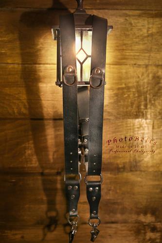 רצועת עור כפולה למצלמה PhotoBelts - M שחור