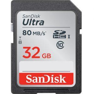 כרטיס זיכרון Sandisk ultra SD 32gb 80mb/s