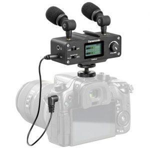 מיקסר עם מיקרופונים Saramonic CaMixer Microphone Kit with Dual Stereo Condenser Mics למצלמות DSLR