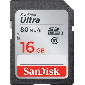 כרטיס זיכרון Sandisk ultra SD 16gb 80mb/s